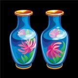 吉祥人的汇集:两个中国花瓶 库存图片
