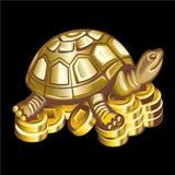 吉祥人的汇集:在硬币的古铜色乌龟 库存照片