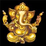 吉祥人的汇集:金黄Ganesha 免版税库存照片