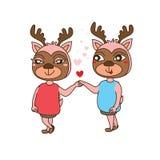 吉祥人逗人喜爱的鹿 向量例证