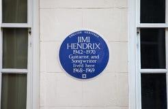 吉米・亨德里克斯匾在伦敦 库存照片