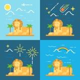 吉萨棉埃及狮身人面象平的设计4样式  免版税库存图片