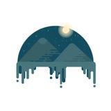 吉萨棉金字塔在晚上 夜沙漠 免版税库存照片
