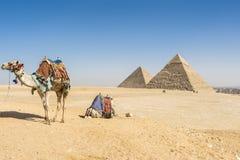 吉萨棉,埃及金字塔全视图  库存图片