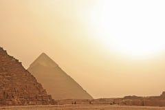 吉萨棉,开罗伟大的金字塔沙子strom的 免版税库存图片