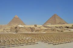 吉萨棉Khapre和cheops和狮身人面象金字塔  免版税库存照片