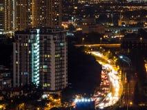 吉隆坡夜交通 库存图片