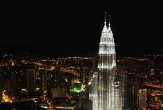吉隆坡晚上全景 免版税库存照片