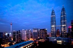 吉隆坡晚上视图 图库摄影