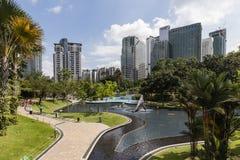 吉隆坡,马来西亚, 2017年12月13日:KLCC公园是一个公园 免版税库存照片