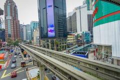 吉隆坡,马来西亚- 2017年3月9日:KL单轨铁路车是连接的一个短和高的单轨铁路车系统 库存图片