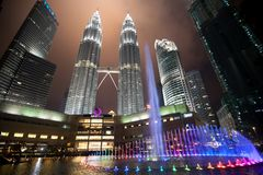 吉隆坡:2017年2月17日:夜城市机智全景视图  免版税库存图片