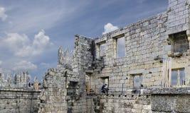 吉马朗伊什葡萄牙 2017年8月14日:被找出的大厦废墟  库存照片