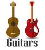 吉他二 皇族释放例证