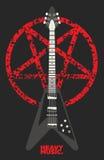 吉他和五角星形设计 库存照片