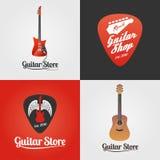 吉他商店,音乐传染媒介象,标志,象征,商标商店汇集  免版税库存图片