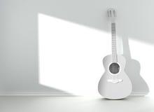 吉他在空白的空的室 免版税库存照片