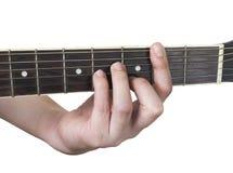 吉他弦Bm有白色背景 免版税库存照片