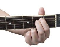 吉他弦Em有被隔绝的白色背景 库存图片