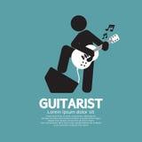 吉他弹奏者黑标志 免版税图库摄影
