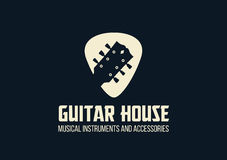吉他房子概述商标 免版税库存照片