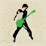 年轻吉他演奏员传染媒介 图库摄影