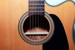 吉他的正面图 关闭 库存图片