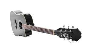 黑吉他被隔绝在白色 免版税库存照片
