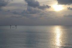 吊床在日落时间的水l中 免版税库存图片