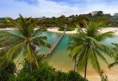 吊桥向巴拉望岛在圣淘沙新加坡 免版税图库摄影