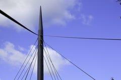 吊桥缆绳和支持细节 库存图片