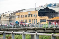 吊桥Morandi Ponte Morandi的崩溃 免版税图库摄影