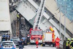 吊桥Morandi Ponte Morandi的崩溃 库存图片