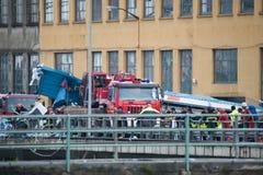 吊桥Morandi Ponte Morandi的崩溃 免版税库存图片