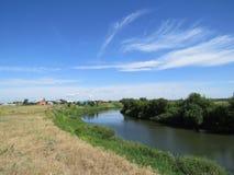 同一条河的两河岸 库存图片