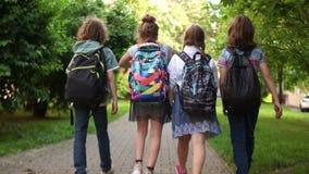 同学在大道去教育 第一时代,回到学校 孩子运载背包,背面图 股票录像