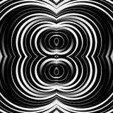 同心圆,圆环抽象样式 单色几何 免版税库存照片