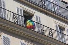 同性恋自豪日在Paris_June 24 2017_rue de rivoli 免版税库存照片