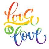 同性恋自豪日彩虹文本爱是爱 皇族释放例证