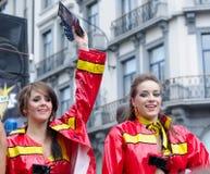 同性恋自豪日游行的活动家在布鲁塞尔 库存照片