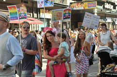 同性恋自豪日游行2013年在斯德哥尔摩 库存图片