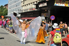同性恋自豪日游行2013年在斯德哥尔摩 库存照片