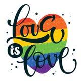 同性恋自豪日黑文本爱是在五颜六色的快乐彩虹心脏背景的爱 向量例证