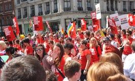 同性恋自豪日,相等的婚姻3月,伦敦 免版税库存照片