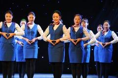 同情标志语言表现航空公司空中小姐训练课 库存照片