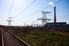 同时发热发电植物在Kyiv,乌克兰 免版税库存照片