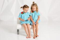 同样绿松石的两个小女朋友在有白色墙壁的一个演播室穿戴坐一把椅子 免版税库存照片