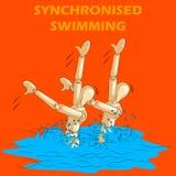同步的游泳的概念炫耀与木人的时装模特 免版税库存图片