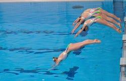 同步的游泳 库存图片