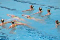 同步的游泳 免版税库存图片